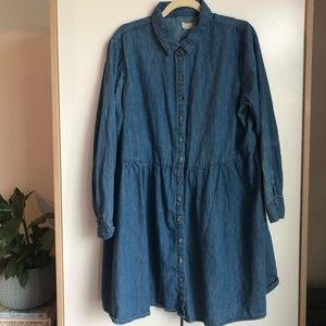 ASOS denim long sleeve button dress 16